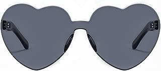 One Piece Heart Shaped Rimless Sunglasses Transparent...