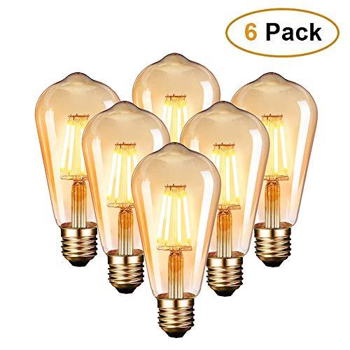 Edison Vintage Glühbirne, Edison LED Lampe Warmweiß E27 4W Retro Glühbirne Vintage Antike Glühbirne Ideal für Nostalgie und Retro Beleuchtung im Haus Café Bar usw - 6 Stück [Energieklasse A++]