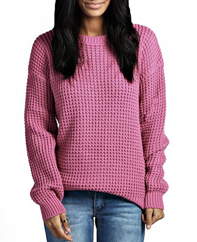 Womens Ladies Oversized Baggy Long Thick Knitted Plain Chunky Top Knit Jumper S-XL (S/M, Dusty Pink)