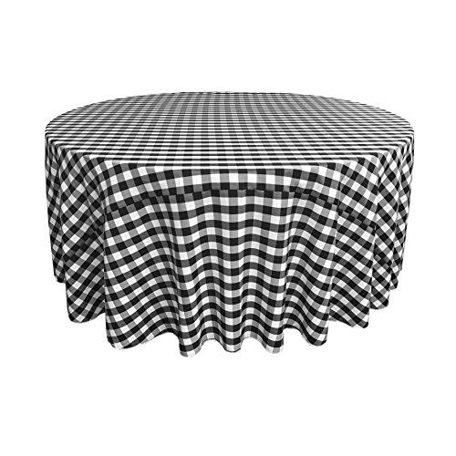La Nappe Ronde en Lin à Carreaux Vichy, Polyester, Blanc/Noir, 335.28 x 335.28 x 0.04 cm