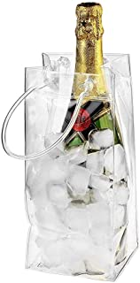 Funarrow Collapsible Clear Ice Wine Bag PVC Leakproof Environmentally Friendly Transparent Ice Pack with Carry Handle, for Party Picnic Barbecue Cold Beer White Wine Chilled Beverages