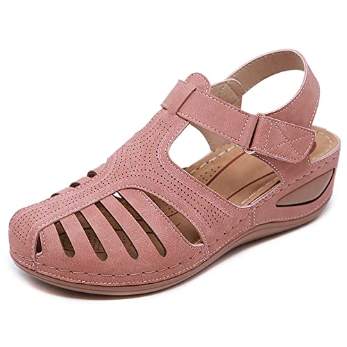 Aconhop Sandalias ortopédicas de mujer cómodas y elegantes pendientes de cuña plataforma gancho y lazo gladiador al aire libre Mary Jane zapatos de sandalia casual, 9.5