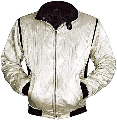 Fashion_First Movie Drive Scorpion Ryan Gosling Embroide Mens Trucker Bomber Satin Jacket, White, M