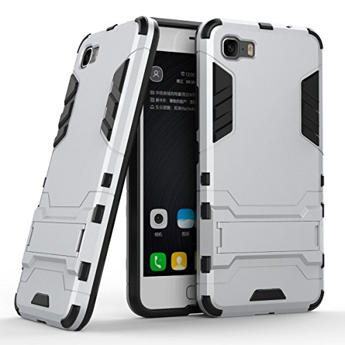 Case for Asus ZenFone 3S Max ZC521TL (5.2 inch) 2 in 1 Shockproof with Kickstand Feature Hybrid Dual Layer Armor Defender Protective Cover (Silver)