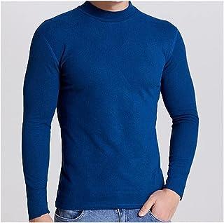 XYZMDJ High Collar Thermal Underwear Men Plus Velvet Long Sleeve T- shirt Baselayer Shirt Underwear Autumn Winter (Color :...