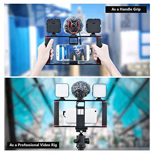 Neewer Smartphone Video Rig Stabilisator, Griff aus Aluminiumlegierung mit 3 Kaltschuh Halterungen für Videoersteller Kompatibel mit iPhone 11 Pro Max/11 Pro/11/Xs Max/Xs/Xr/8, Google, Samsung