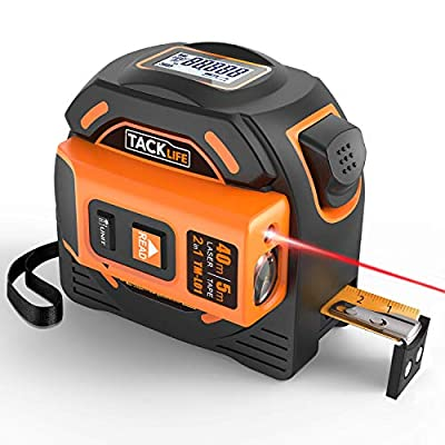 Laser Tape Measure 2-in-1, Laser Measure 131 Ft, Tape Measure 16 Ft Metric and Inches with LCD Digital Display, Movable Magnetic Hook, Screwdriver, Nylon Coating for DIY, Construction - TM-L01 by TACKLIFE