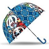 SKYLINE Paraguas para Niños, Avengers, Campana Transparente, Paraguas Infantil, Poliéster, 72cm diámetro, Vuelta al Cole, Ideal para Niños