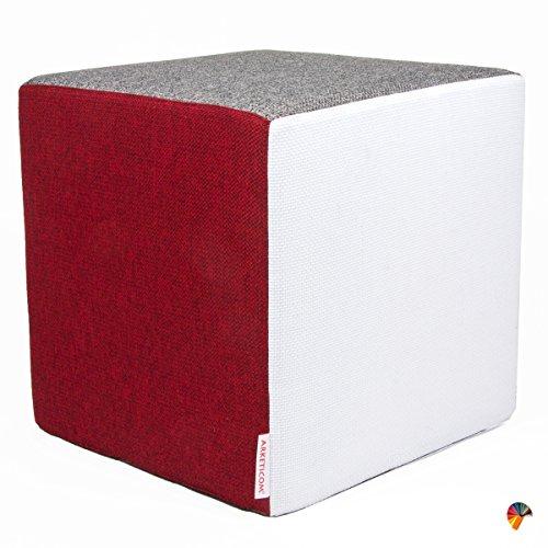 Arketicom Pouf Cubo Poggiapiedi Ispirato al cubo di Rubik in Tessuto Cotone e Poliestere (Sfoderabile con Zip) e Poliuretano Alta Densita Multicolor Bianco Rosso Grigio 42x4242 cm