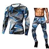Hombres apretado deporte entrenamiento de la gimnasia Ejecución de Camo Exclusiva Deportes Trajes de entrenamiento de secado rápido camisas apretadas Trajes de deporte ( Color : Blue , Size : XXL )