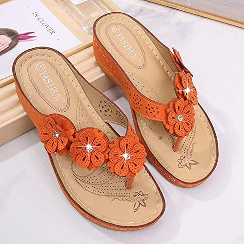 Sandálias femininas Bohemian Flowers Flip Flop com strass feminino verão chinelos com plataforma cunha sapatos de praia confortável de ponta aberta tamanho grande, laranja, 36