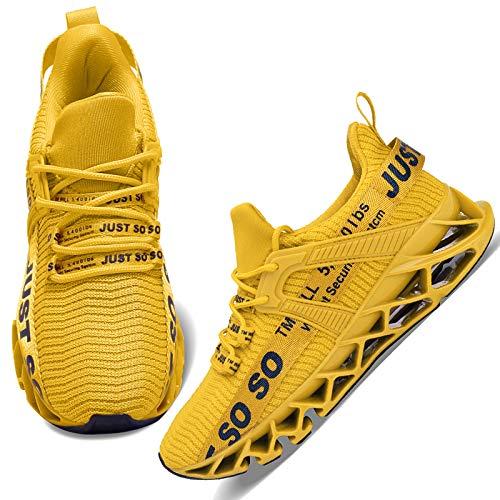 Wonesion Damen Laufschuhe Sportschuhe Straßenlaufschuhe Sneaker Damen Tennisschuhe Fitness Schuhe 38 EU 3 Gelb