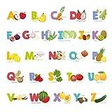 DECOWALL DS-8031 Obst und Gemüse Englisch Alphabet Kids Wandtattoo Wandsticker Wandaufkleber Wanddeko für Wohnzimmer Schlafzimmer Kinderzimmer (Klein)