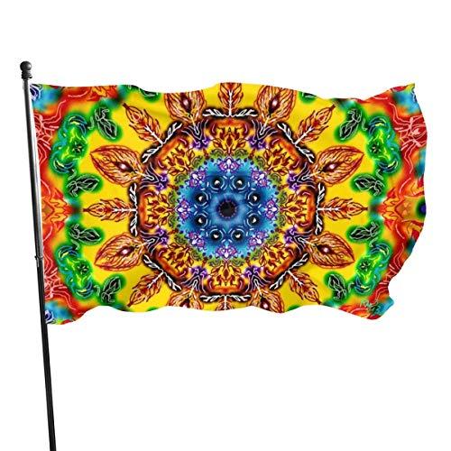 Bandera de patrón hippie 3x5 pies Banner decorativo al aire libre Bandera estándar colgante exterior para patio jardín césped vacaciones