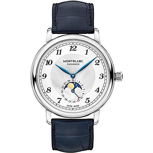 Montblanc Herren-Armbanduhr 42mm Armband Leder Blau Gehäuse Automatik 117578
