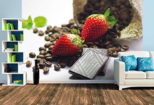 Premium Foto-Tapete Rote Erdbeeren mit Schokolade und Kaffee (versch. Größen) (Size L | 372 x 248 cm) Design-Tapete, Wand-Tapete, Wand-Dekoration, Photo-Tapete, Markenqualität von ERFURT