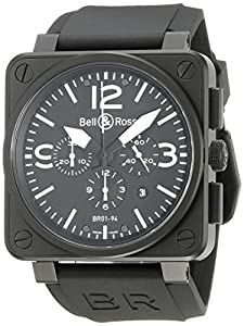 Bell & Ross Men's BR-01-94-CARBON Aviation Black Chronograph Dial Watch Watch Prices and Buy NOW!!! and review image