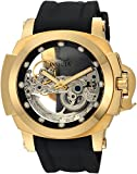 Invicta Men's Coalition 48mm Stainless Steel and Silicone Automatic Watch, Black/Gold (Model: 24708)