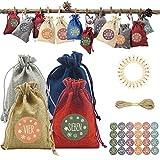 24 calendarios de Adviento para rellenar, bolsas de yute cal