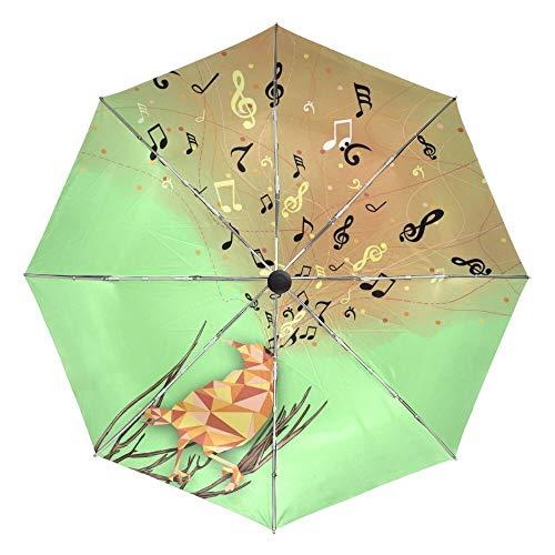 Faltbarer Regenschirm Kreativer Vogel singt ein Lied Automatischer Sonnen- und Regenschirm, Faltbarer Außenschirm, schwarze Beschichtung, UV-Schutz Regenschirme für Kinder