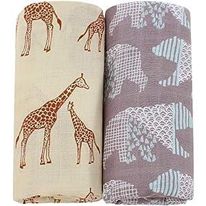 Lebze Muselina Manta Bebé | Mantas de Muselina de Bambú Algodón | 120×120 cm Pack de 2″Oso y Jirafa»