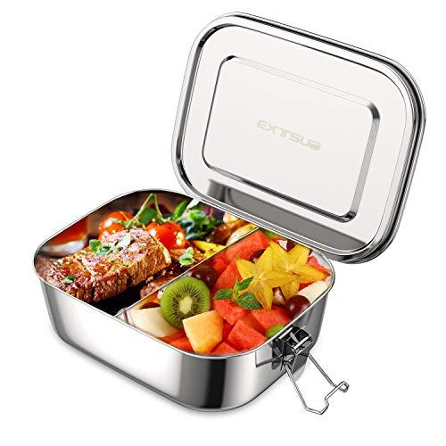 EXTSUD Edelstahl Brotdose, Auslaufsicher Lunchbox mit flexiblem Trennsteg, 1400ml Premium Lunchbox, 100{bbf6b32af48f032c01d8734329ce0b2b3b1bafaa02af9a63418b7fbfcf664bb7} BPA frei große Brotbox zum Wandern/Reisen/Schule Kinder und Erwachsene