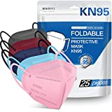 25 Pack KN95 Face Mask, Filter Efficiency≥95%, 5-Ply KN95 Mask Protection Against PM2.5, Fire Smoke, Dust Cup Dust Mask (Pink, Blue, Purple, Red, Gray)