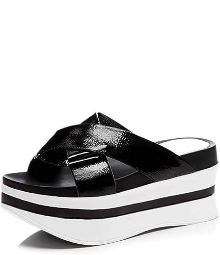 Sandales compensées pour Femmes, Sangles entrecroisées, Non glissantes, Fond épais, Bout Ouvert, Pantoufles décontractées
