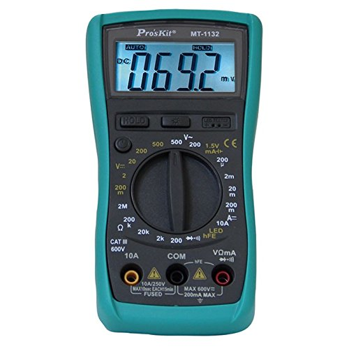 Pro'sKit - Multimetro Digital Portátil de 3 1/2, Tester Auto Rango Voltage AC-DC Resistencia Diodo Continuidad