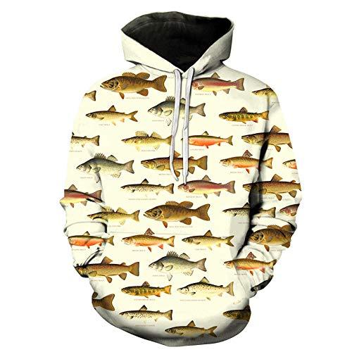 RKWEI Sudaderas con Capucha Animal Fish Pattern Unisex 3D Print Lightweight Pullover Hooded Sweatshirt Hoodies...