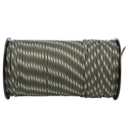 Alomejor Cuerda de Nailon Multifuncional de 4 mm de Espesor, tendedero Colgante, línea de Tienda de campaña, 100 m / 328 pies de Longitud para Acampar, jardín al Aire Libre(Camuflaje Forestal)