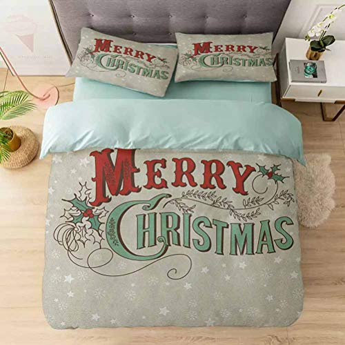Aishare Store 3 Pieces Duvet Cover Set, Xmas Stars and Snowflakes Backdrop with Stylized Retro Lettering, Printed Duvet Cover Set with Ultra-Soft Microfiber, Eggshell Sea Green Ruby