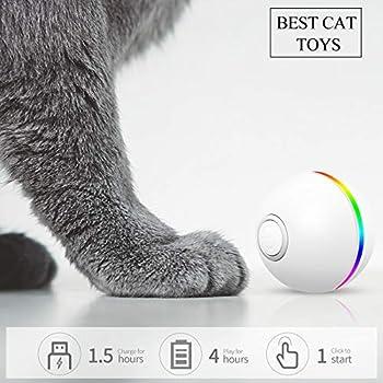 FAYOGOO Jouet pour Chat Interactif Balle pour Chat avec LED Lumières 4e génération Jouets Balle Chat pour Chaton et Chiot, Auto-Rotative à 360 Degrés (Blanc)