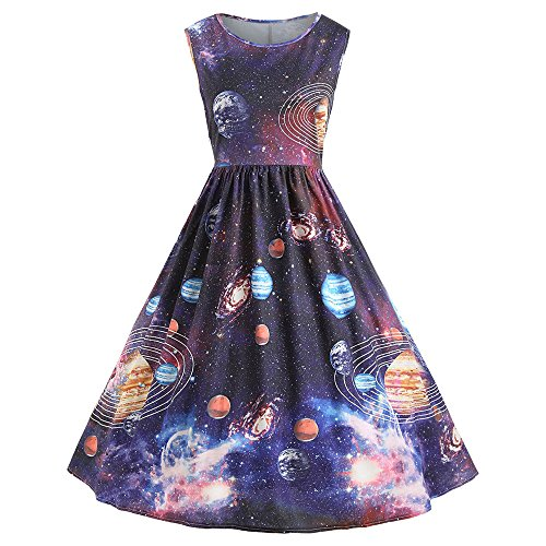 iLUGU Boat Collar Sleeveless Knee-Length Dress for Women Cosmic Planet A-Line Dress