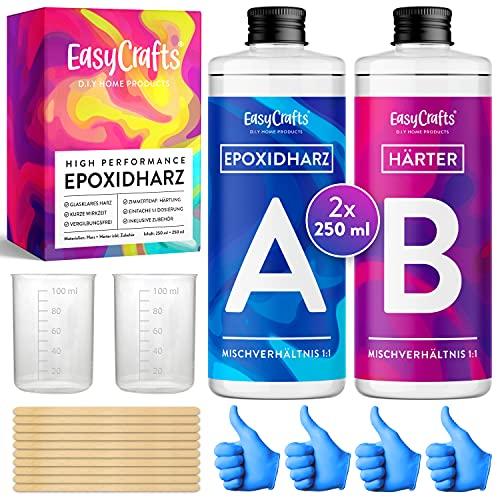 EasyCrafts® Epoxidharz Set für Anfänger in Deutsch - 500 ml glasklar Gießharz - im Mischverhältnis 1:1 zur Beschichtung von Holz, Schmuck, Plastik, Deko UVM.