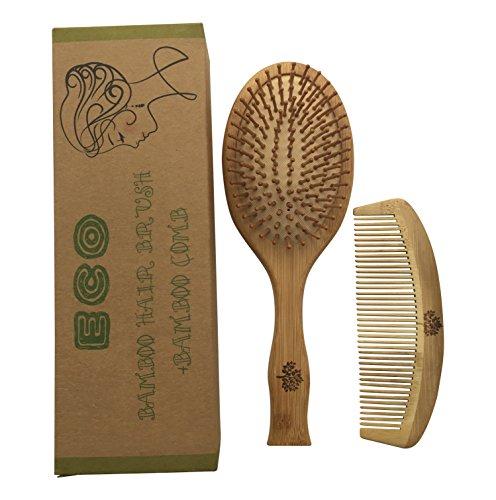 Lot de 2 brosses à cheveux et peigne en bambou recyclables et écologiques