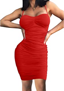 Women Sexy Summer Club Ruched Spaghetti Strap Bodycon Midi Dress