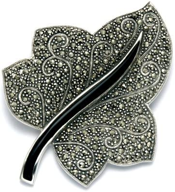 Wild Things Sterling Silver Marcasite Simulated Black Onyx Ivy Leaf Combination Pin Pendant product image