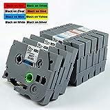 Cinta de repuesto compatible con Brother TZe-231, compatible con P-Touch PT-1000, PT-1010, PT-H101C, GL-H105 PT-2030VP, 12 mm x 8 m, 8 unidades