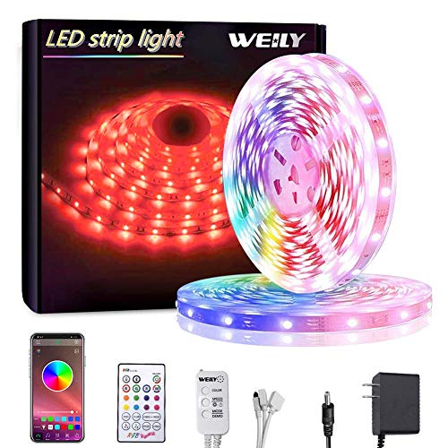 Bluetooth Striscia LED,LED Striscia 10M SMD 5050 RGB Strisce Luminose con Controller Sincronizza con la Musica Adatto per Camera da letto, Decorazioni per feste e per la casa