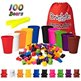 Driddle Colorful Counting Bears with Matching Cups - 100 Bears - Sort, Count & Color Recognition Learning Toy for Toddler & Kids - Montessori Education - Preschool Game