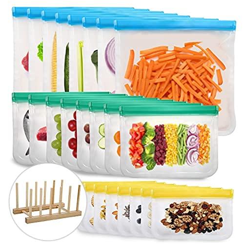 Reusable Food Storage Bags, 24 Pack BPA Free Reusable Freezer Bags, Leakproof Storage Bag for Food...