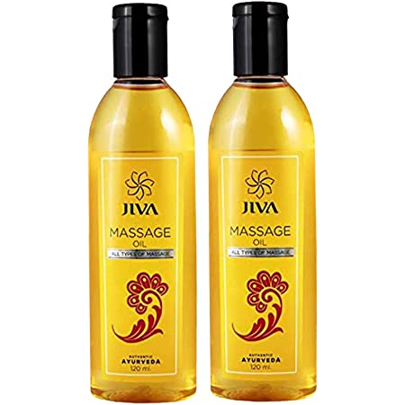 Jiva Massage Oil - Reduces Muscular Stiffness & Pains - Rejuvenates Nervous System - Nourishes the Skin & Muscles - 120 ml Each - Pack of 2