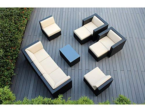 Ohana 10-Piece Outdoor Patio Furniture Sectional Conversation Set, Black Wicker with Beige Cushions - No Assembly with Free Patio Cover