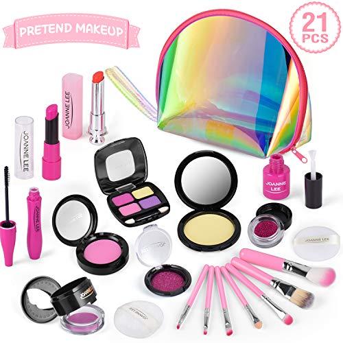 TwobeFit Kids Makeup Kit für Mädchen, Pretend Makeup Set für Kinder Pretend Play Makeup Kosmetisches Spielzeug Geburtstagsgeschenk für Mädchen Makeup Toy mit Glitzertasche
