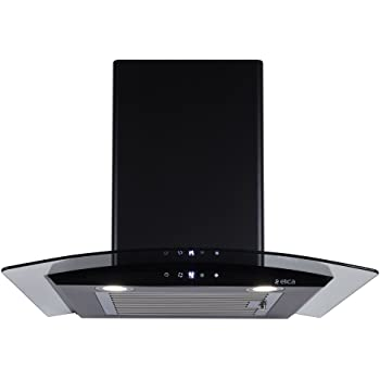 Elica Kitchen Chimney, Auto Clean, Touch Control with Baffle Filter 60 cm, 1100 m3/hr (ESCG HAC Touch 60 Nero, Black and Glass)