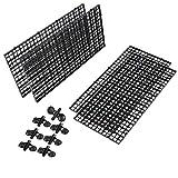AHANDMAKER Bandeja Divisoria de Acuario Rejilla de Plástico, Aislamiento Inferior del Tanque de Peces de Acuario de 4 Pieza Y Ventosa de 12 Piezas para Cría Mixta de Peces, Negro