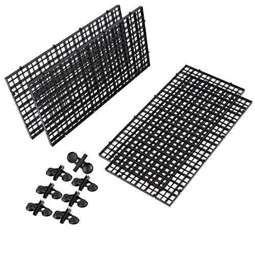 AHANDMAKER Aquarium Divider Tray Kunststoffgitter, 4 Stück Aquarium Aquarium Bottom Isolation Und 12 Stück Saugnapf Für Fischmischzucht, Schwarz
