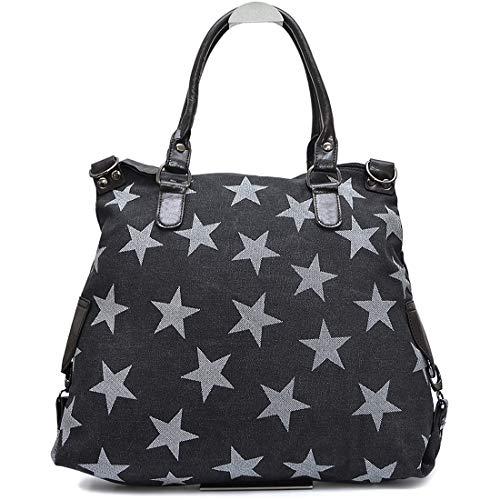 Vain Secrets Sternen Shopper Damen Handtasche mit Schulterriemen (Schwarz-Weiß Stern)
