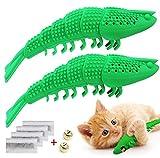 Idepet Interactive Cat Toys Kitten Catnip Cepillo de Dientes Chew Treat Toy Resistencia a la mordedura Juguetes para Mascotas para la Limpieza de los Dientes Cuidado Dental